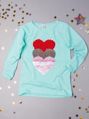 Кофта для девочки, три сердца из пайеток, бирюзовый