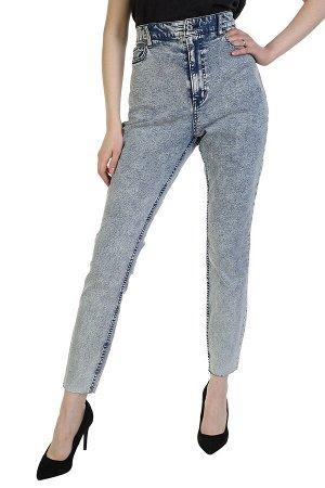 Прямые женские джинсы Denim с высокой посадкой – модный «обрезанный» эффект №284