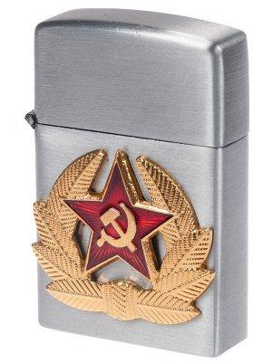 Армейская зажигалка с кокардой СА (газовая Zippo)