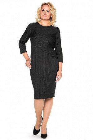Платье Платье  Состав: Состав:  60% полиэстер; 34% шерсть; 6% эластан Описание модели:  Платье полуприлегающего силуэта из облегченного шерстяного трикотажа. Цвет графит, тонкая полоска. На переде вс
