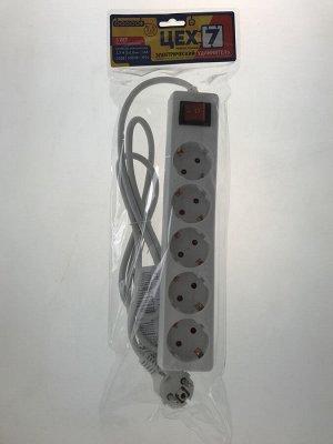 Удлинитель электрический универсальный ТМ ЦЕХ7, ПВС 3х1,0кв.мм, 5 розеток, 1,5м, 16А с заземлением и выключателем
