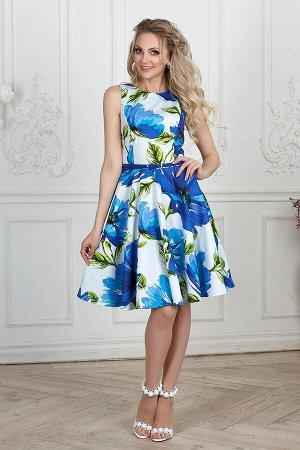 Платье 1170в, синие цветы