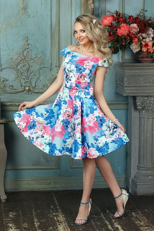 Платье 1217а, розово-голубые цветы