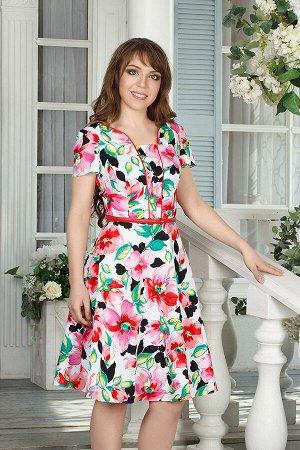 Платье 1225, розовые цветы