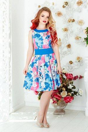 Платье 1062, розово-голубые цветы