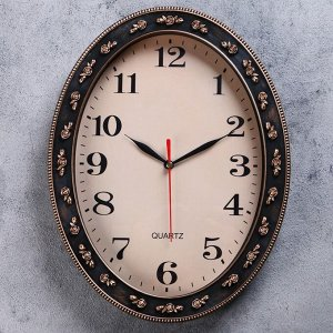 "Часы настенные, серия: Классика, ""Диаманте"", плавный ход, 30 х 23 см, d=24.5 х 18 см"