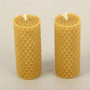 """Набор свечей из вощины медовая с добавлением эфирного масла """"Эвкалипт"""" 8 см, 2 шт"""