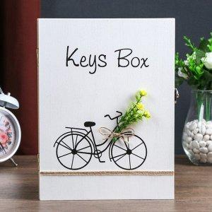 """Ключница дерево 6 крючков """"Велосипед с цветами"""" 26х19,5х5,5 см"""