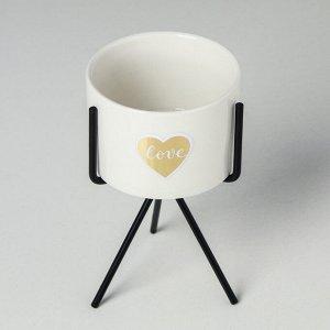 Керамический горшок с металлической подставкой «Любовь» 19 х 12 см