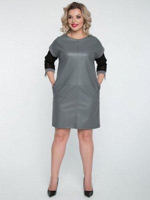 Платья Платье прямого силуэта из экокожи и трикотажа серого цвета, сетки черного цвета. - круглый вырез горловины на внутренней обтачке - рукава из сетки, втачные, со спущенной линией плеч, длиной 3