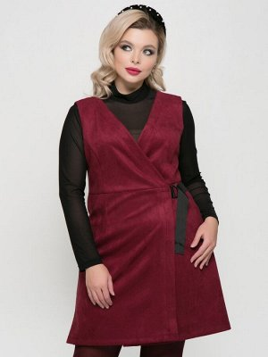 Платье Стильный сарафанприлегающего силуэта с V-образным вырезом, на запахе с застежкой из репсовой ленты с пряжкой. - однотонная расцветка - открытые проймы без рукавов -V-образный вырез горловин