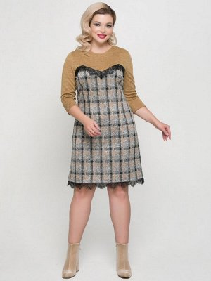 Платья Платье прилегающего силуэта выполнено из комбинированного меланжевого трикотажного полотна. - круглая горловина на внутренней обтачке - фигурная кокетка по переду и спинке выполнена из однотонн