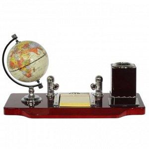Настольный набор (глобус, карандашница, блокнот, держатель для визиток), L35 W17,5 H21 см