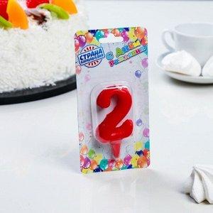 """Свеча для торта цифра """"Овал"""" """"2"""". красная"""