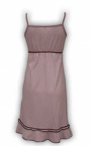 Сорочка женская розовая с коричневым орнаментом