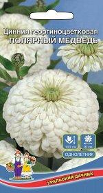 Цветы Цинния Полярный Медведь георгиноцветковая (УД) (90 см, цветы одиночные белые, махровые)