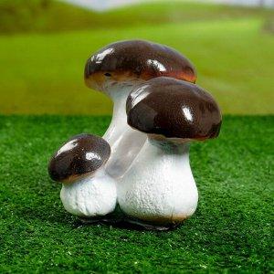"""Садовая фигура """"Тройной гриб-боровик"""" малый 14х12х15см"""
