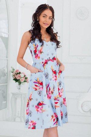 Голубой сарафан с ярким цветочным принтом
