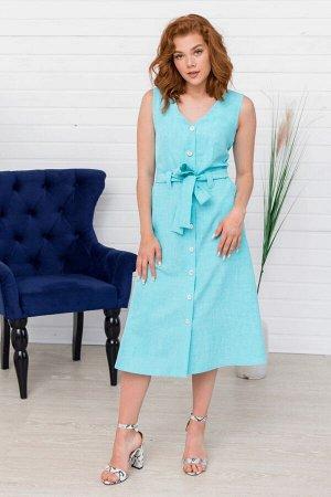 Лазурное платье миди без рукавов
