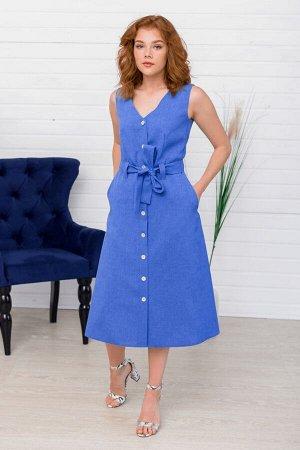Синее платье миди без рукавов