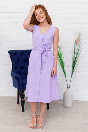 Лиловое платье миди без рукавов