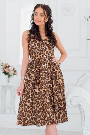Коричневый сарафан с леопардовым принтом