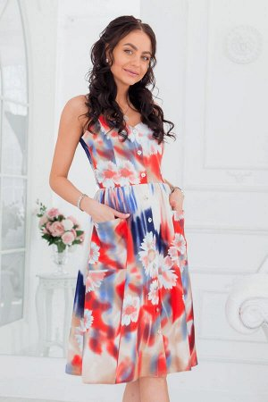 Кремовый сарафан с ярким цветочным принтом