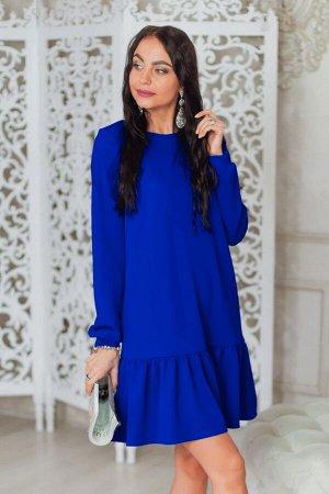 Синее платье со сборкой по низу