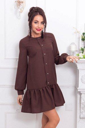 Шоколадное платье со сборкой по низу