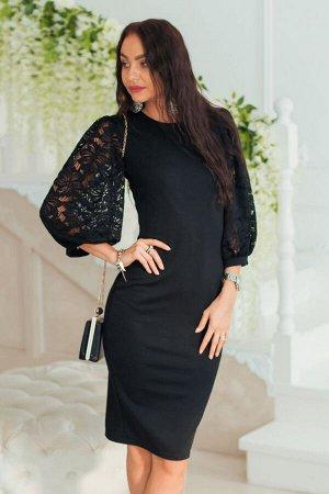 Черное платье с пышными рукавами из гипюра