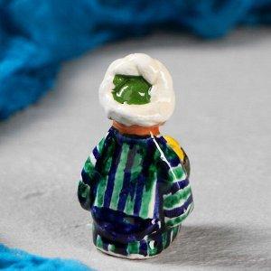 Фигурка керамическая Узбек с лепешкой 8 см. МИКС