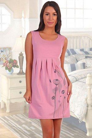 Платье 693 Материал: кулирка; Состав: 100% хлопок; Производитель: Натали Однотонное платье из кулирки. Рукава отсутствуют, широкие лямки, общая длина чуть ниже середины бедра. Принт в виде цветов, ст