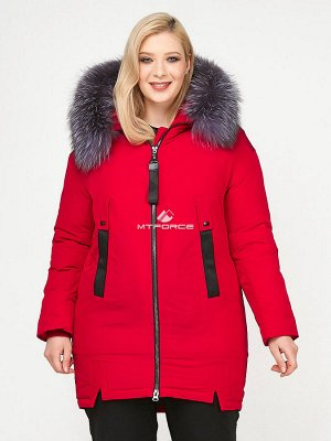 Женская зимняя молодежная куртка большого размера красного цвета