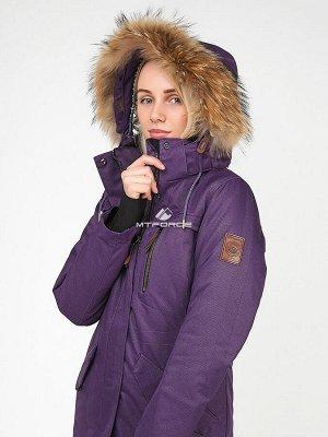 Женская зимняя парка фиолетового цвета