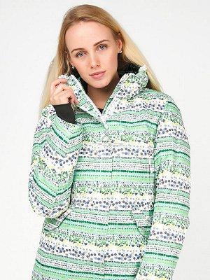 Женская зимняя горнолыжная куртка салатового цвета