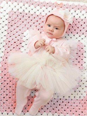 """Комплект на выписку """"Luxury"""" Комбинезон с юбочкой и чепчик (розовый)"""