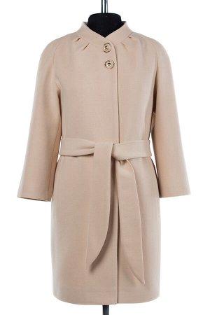 01-07369 Пальто женское демисезонное(пояс) Пальтовая ткань пудра
