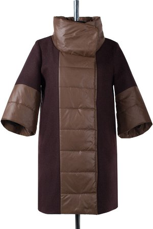 01-5919 Пальто женское демисезонное сукно/плащевка коричневый
