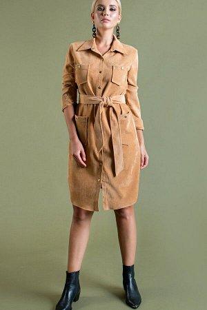 Платье-рубашка из вельвета цвет желто-золотой (П-60-11)