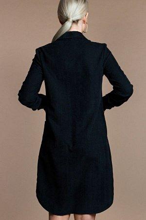 Платье-рубашка из вельвета цвет черный (П-60-12)