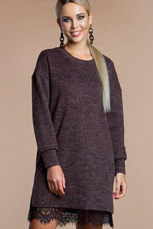 Платье -туника цвет орехово-коричневый (П-218-2)
