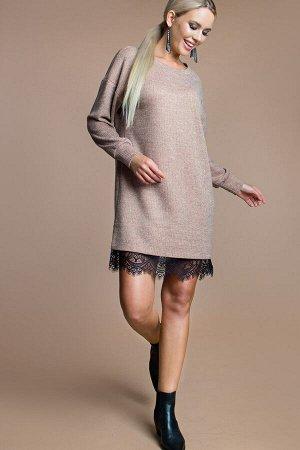 Платье -туника цвет темно-лососевый (П-218-1)