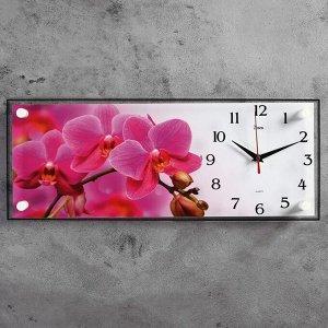 """Часы-картина настенные, серия: Цветы, """"Ветка розовых орхидей"""", 50х20 см"""