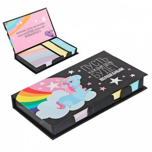 """Бумажный блок в пластиковом футляре """"Пусть каждый день будет волшебным"""": 100 листов и 2 набора стикеров"""