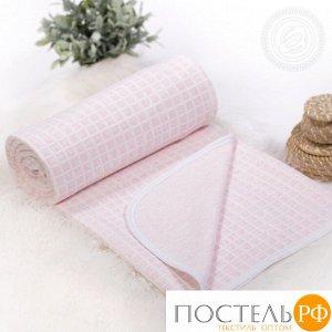 2280 Одеяло-покрывало трикотажное 100*140 Клетка розовая