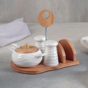 Набор для специй «Эстет» 250 мл, 4 шт: солонка, перечница, сахарница, салфетница, на деревянной подставке