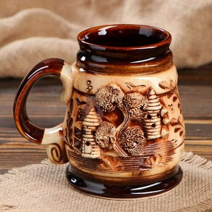 """Пивная кружка """"Замок"""", декорированная глиной, 0.5 л"""