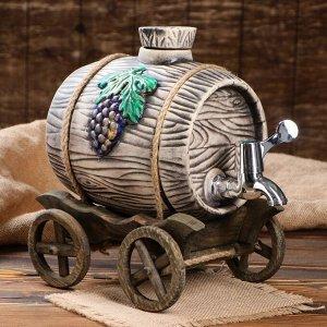 "Бочка на деревянной телеге ""Виноград"", серебристый кран, 2.7 л"