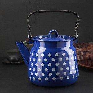Чайник кобальтовый с петлёй «Белый горох», 3,5 л