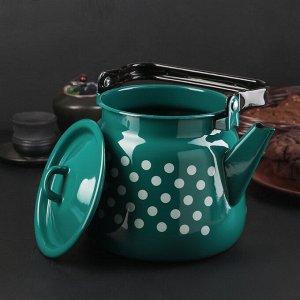 Чайник бирюзовый с петлёй «Белый горох», 3,5 л